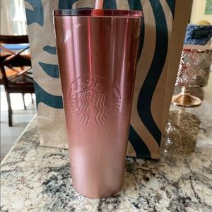 Starbucks holiday rose gold ombré glitter tumbler